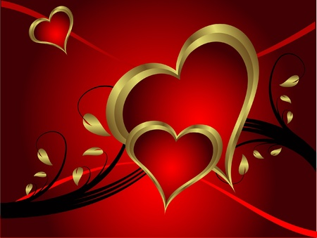 A vector valentines background with gold hearts on a deep red backdrop  with   room for text Stock Vector - 11134125