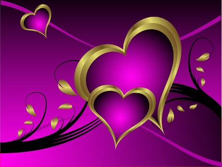 A purple hearts Valentines Day Background with gold hearts  on a purple and gold  background Stock Vector - 11134126