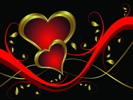A vector valentines background with gold hearts on a black backdrop  with   room for text