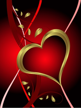 A vector valentines background with gold hearts on a deep red backdrop  with   room for text Stock Vector - 11134124