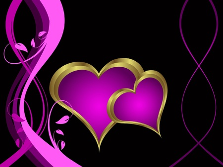 A purple hearts Valentines Day Background with gold hearts  on a purple and gold  background Stock Vector - 11134123