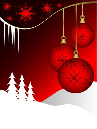 Christmas background illustration with baubles on a red backdrop Vector