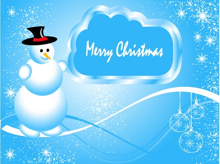 Abstract  grunge winter vector scene with  a blue  background, snowman and snowy christmas trees. Vector