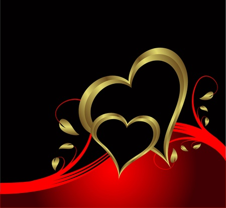 A vector valentines background with gold hearts on a black backdrop  with   room for text Vector