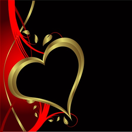 satin: A vector valentines background with gold hearts on a black backdrop  with   room for text
