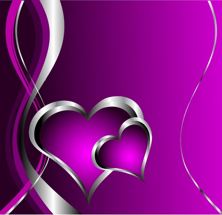 A purple hearts Valentines Day Background with silver hearts and flowers on a black background Vector