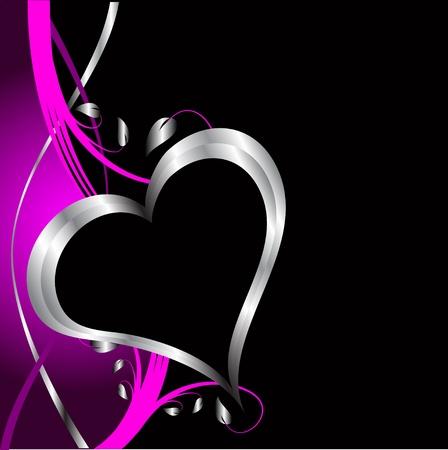 Ein lila Herz Valentinstag Hintergrund mit silbernen Herzen und Blumen auf schwarzem Hintergrund