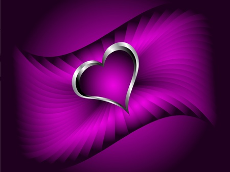 A purple hearts Valentines Day Background with silver hearts on a purple fan effect background