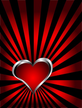 A vector valentines background with silver hearts on a deep red fan effect  backdrop  Vector