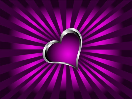 A purple hearts Valentines Day Background with silver hearts on a purple fan effect background Vector
