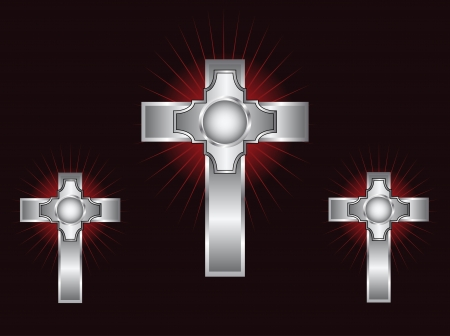 Three ornate silver crosses on a maroon background with highlighted rays Stock Vector - 13708054