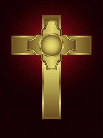 An ornate gold cross on a maroon background with highlighted rays Vector