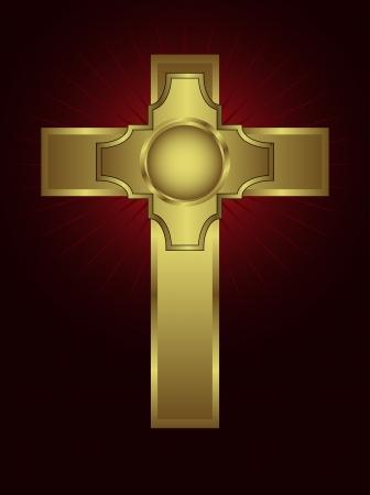 religious icon: Una cruz de oro adornada sobre un fondo marr�n con rayas destacadas
