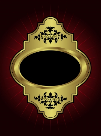 gold plaque: An ornate gold  plaque with room for text on a maroon highlighted background Illustration