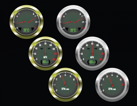 rev counter: Set of three car dials with speedometer,rev counter and petrol and temperature gauge with gold and silver trim