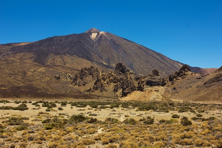 The conical volcano Mount Teide or El Teide in Tenerife is Spains highest mountain.  photo