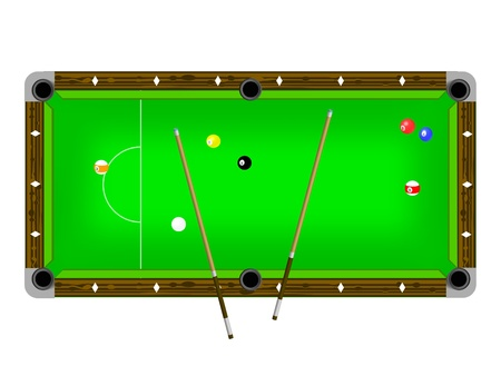 billiards tables: Illustration of a pool table with cues and pool balls isolated on white