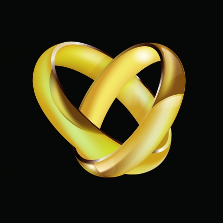 intertwined: A pair of intertwined ladies and mens wedding rings in the shape of a heart isolated on black