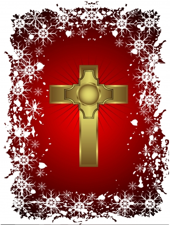 christmas cross: A gold cross on a christmas background with a snowy border