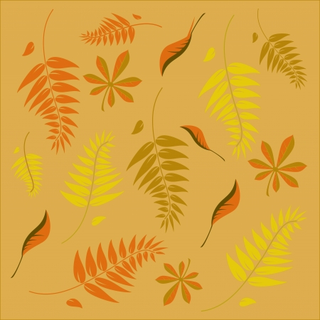An autumn background with different shaped leaves in various autumn browns Vector