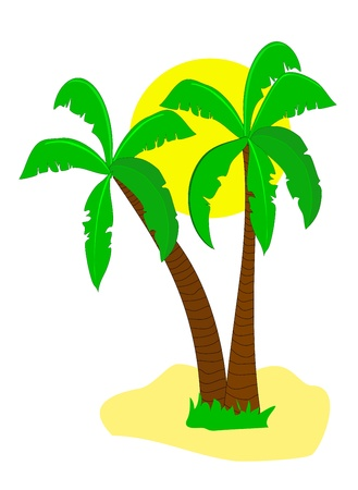 castaway: A desert island illustration with palm trees and a smiling cartoon sun