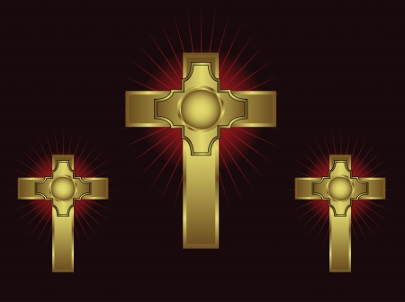 Three ornate gold crosses on a maroon background with highlighted rays Stock Vector - 16211882