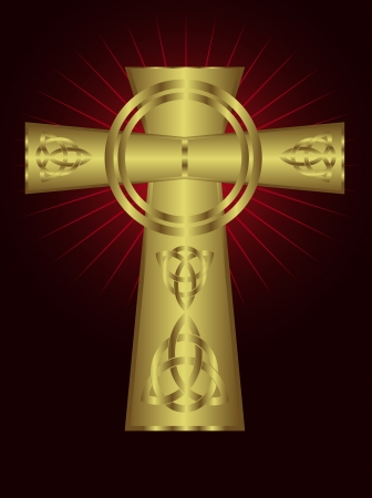 Ornate celtic gold cross on a maroon background with red starburst effect Stock Vector - 16211903