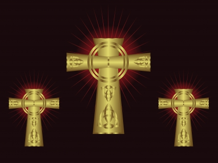 Three ornate gold crosses on a maroon background with highlighted rays Stock Vector - 16211881