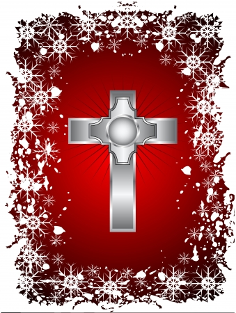 A gold cross on a christmas background with a snowy border Vector