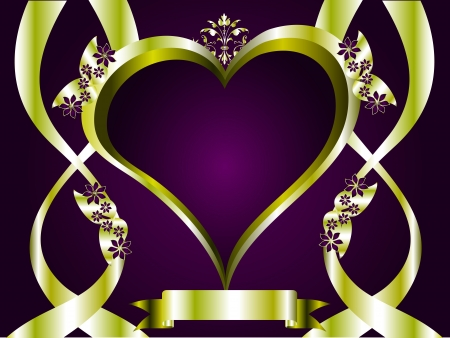 A vector valentines background with a series of  gold hearts on a deep purple backdrop  Vector