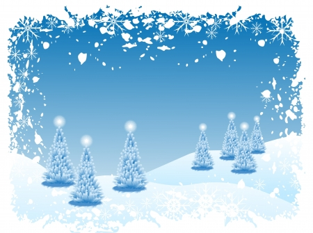 Abstract winter background scene with  snowy christmas trees Stock Vector - 16725780