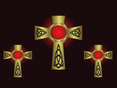pagan cross: Three ornate gold crosses on a maroon background with highlighted rays
