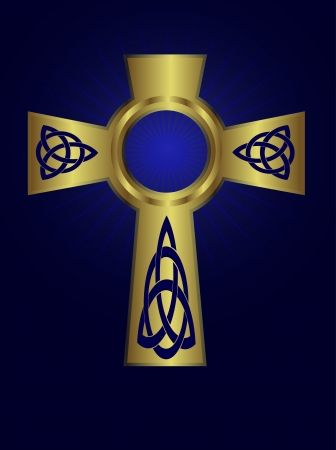 Ornate celtic gold cross on a deep blue background with starburst effect Stock Vector - 16821048