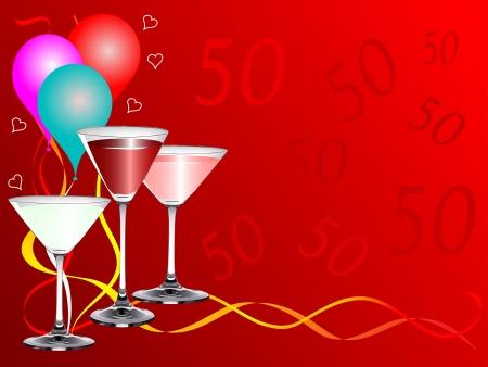 Vierzigsten Geburtstag Party Hintergrund Vorlage Mit Getranke Glaser