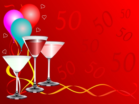 party poppers: A fiftieth birthday party background template with drinks glasses and balloons