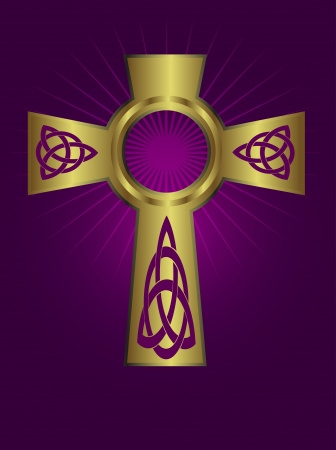 An ornate celtic gold cross on a purple background with highlighted rays Stock Vector - 16822338