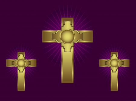 Three ornate gold crosses on a purple background with highlighted rays Vector