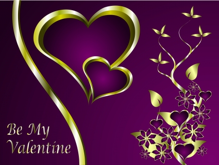 valentines background with a series of  gold hearts on a deep purple backdrop  Vector