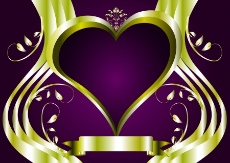 velvet ribbon: valentines background with a series of  gold hearts on a deep purple backdrop