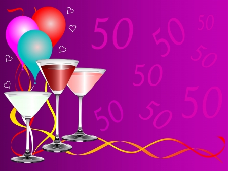 A fiftieth birthday party background template with drinks glasses and balloons Vector
