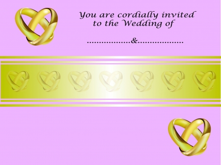 intertwined: A wedding invitation card with intertwined gold rings and room for text