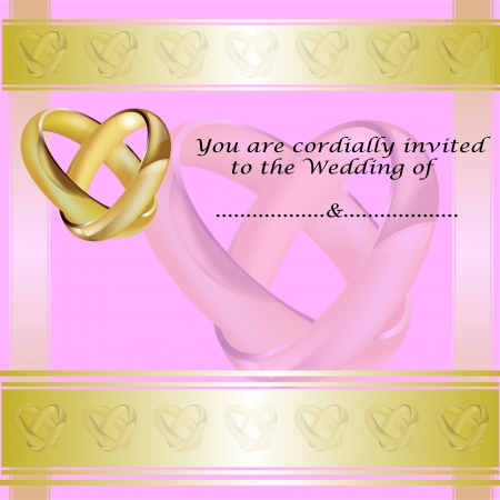 lustre: A wedding invitation card with intertwined gold rings and room for text
