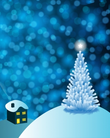 Abstract winter background scene with  snowy christmas trees. Vector
