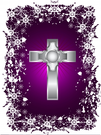 A silver cross on a christmas background with a snowy border Vector
