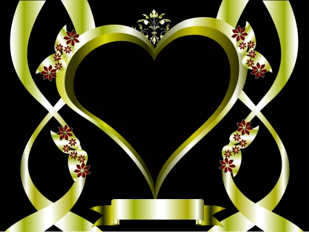 valentines background  a large central heart on a gold ornate background with room for text Vector