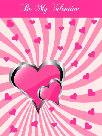 valentines background  a large central hearts on a pink swirl pattern Vector