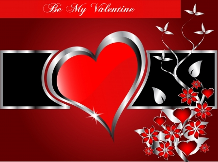 valentines background  large central hearts on a  red and blackl pattern Vector