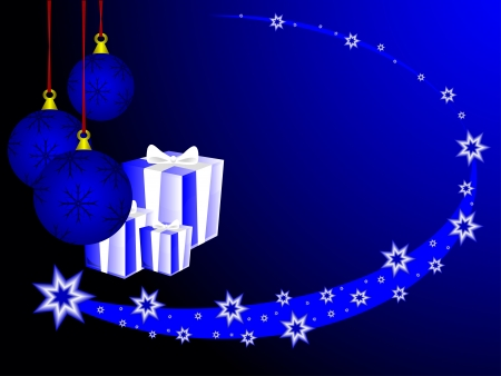 Abstract Christmas background with christmas presents, baubles and a blue comet Vector