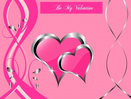 silver ribbon: valentines background  a large central hearts on a pink background