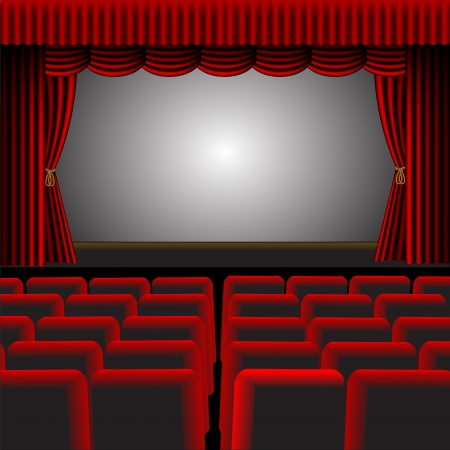 room for text: A illustration of a cinema or theatre with red upholstery and fittings, with a screen and room for text